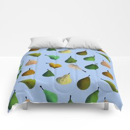 Pears pattern in light blue background Comforters