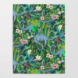 Improbable Botanical with Dinosaurs - dark green Poster