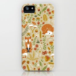 Foxes with Fall Foliage iPhone Case