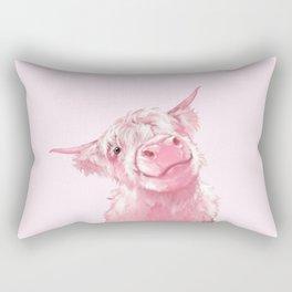 Highland Cow Pink Rectangular Pillow