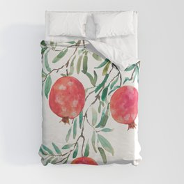 red pomegranate watercolor Duvet Cover