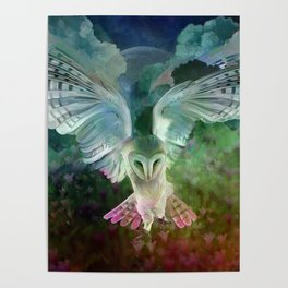 """Owl flight and spring night"" Poster"