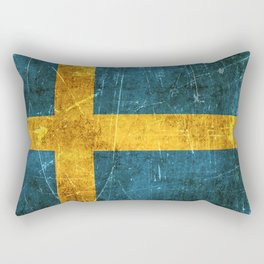 Vintage Aged and Scratched Swedish Flag Rectangular Pillow