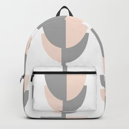 Tulips In Spring Time - Peach and Grey on White Backpack