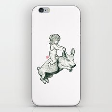 Girl on a flying pig iPhone & iPod Skin