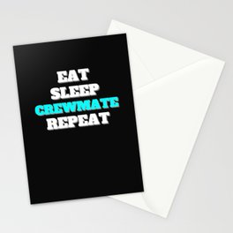 impostor verräter among eat sleep crewmate repeat Stationery Cards