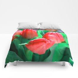 Red tulip Comforters
