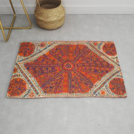 Orange Wildflower Sunshine II // 18th Century Colorful Rusty Red Bright Blue Metallic Happy Pattern Rug