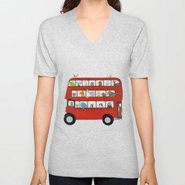 the big little red bus Unisex V-Neck