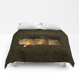 Young squirrels peering out of a nest #decor #buyart #society6 Comforters