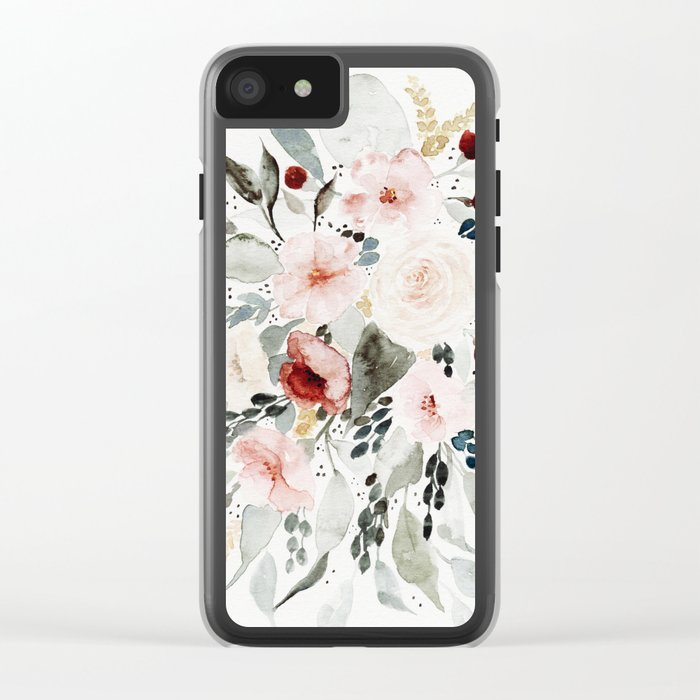 Loose Watercolor Bouquet Clear iPhone Case