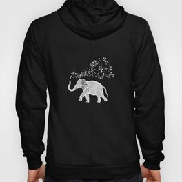 Elephant Music Notes for Animal and Music Lovers print Hoody