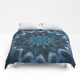 Blue Ice Swirl mandala Comforters