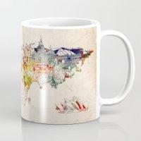 map of the world Mugs featuring world map by Bekim ART