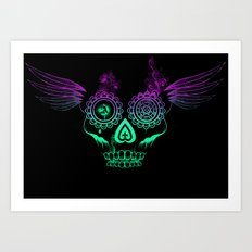 Feathered candy skull Art Print