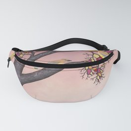 cedar waxwings on the stained glass tree Fanny Pack