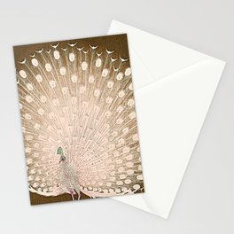 Peacock - Vintage Fantasy Bird Beige Brown Stationery Cards
