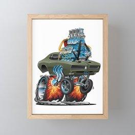Classic American Muscle Car Hot Rod Cartoon Vector Illustration Framed Mini Art Print