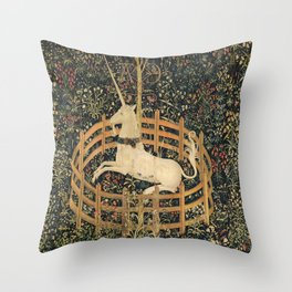 The Unicorn In Captivity Throw Pillow