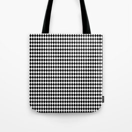 mini Black and White Mini Diamond Check Board Pattern Tote Bag