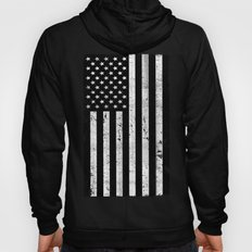 Dirty Vintage Black and White American Flag Hoody