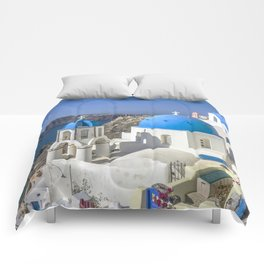 Santorini, Oia Village, Greece Comforters