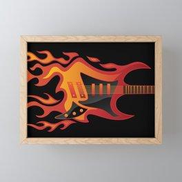 Flying Burning Guitar Illustration Framed Mini Art Print