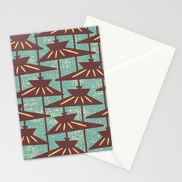 Mid Century Modern Pendant Lamp Composition Turquoise and Brown Stationery Cards