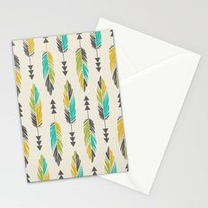 Painted Feathers in a Row-Cream Stationery Cards