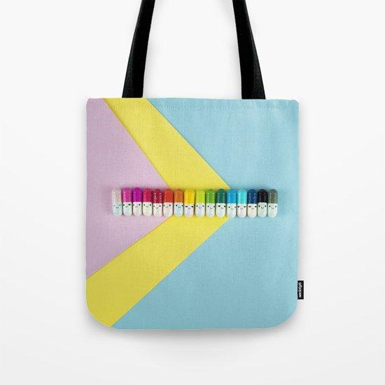Happy little rainbow pills Tote Bag