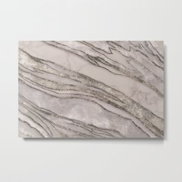 Marble Gemstone Blush Peach  Metal Print