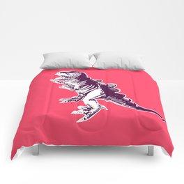 Dino Pop Art - T-Rex - Neon Pink & Dark Purple Comforters