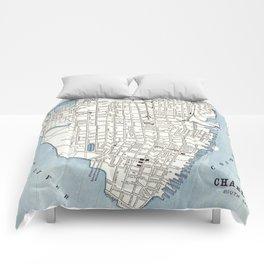 Vintage Map of Charleston South Carolina (1898) Comforters