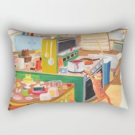 A Cat in the Kitchen Rectangular Pillow