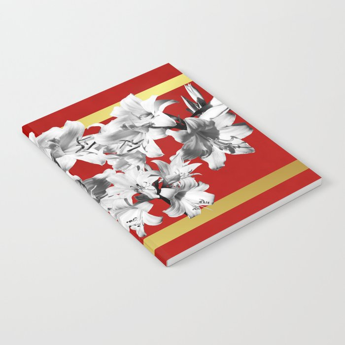 Lilies, Lily Flowers on Red Notebook