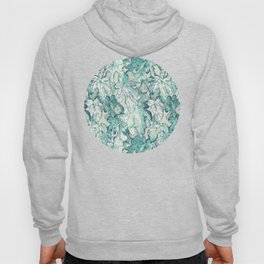 Fig Leaf Fancy - a pattern in teal and grey Hoody