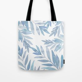 Muted Blue Palm Leaves Tote Bag