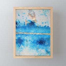 Rainy Day: a pretty minimal abstract mixed media piece in blue & gold by Alyssa Hamilton Art Framed Mini Art Print
