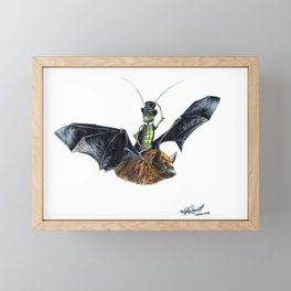 """ Rider in the Night "" happy cricket rides his pet bat Framed Mini Art Print"