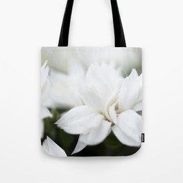 Snow White Flowers on a Dark Background #decor #society6 #buyart Tote Bag