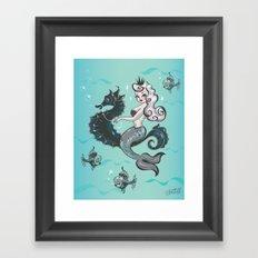 Pearla on Seahorse Framed Art Print