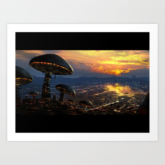 Mushroom City Art Print
