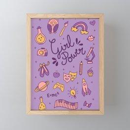 Girl Power Doodle in Purple Framed Mini Art Print