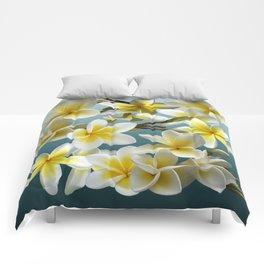 Plumeria on Blue Comforters