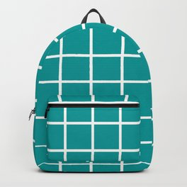 GRID DESIGN (WHITE-TEAL) Backpack