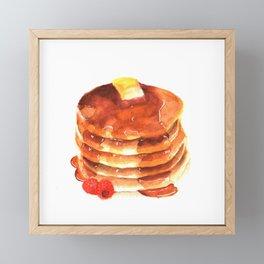 Pancake pile watercolor Framed Mini Art Print