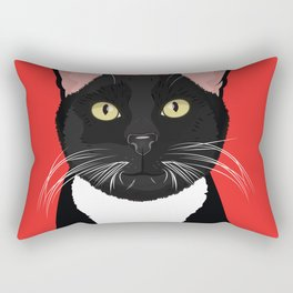 Tuxedo Cat Art Poster by Artist A.Ramos. Designed in Bold Colors. Perfect for Pet Lovers Rectangular Pillow