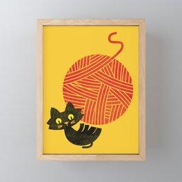 Fitz - Happiness (cat and yarn) Framed Mini Art Print