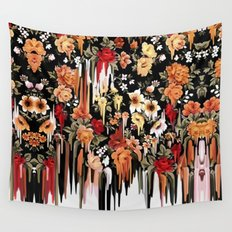 Free Falling, melting floral pattern Wall Tapestry