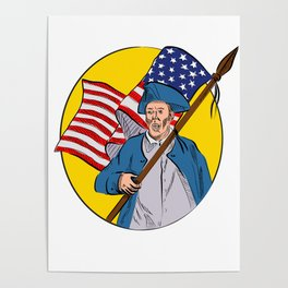 American Patriot Holding American Flag Drawing Poster